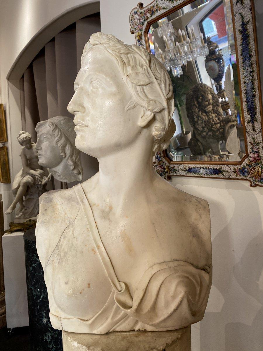 Buste Néoclassique en marbre blanc, fin du XVIII°-photo-4