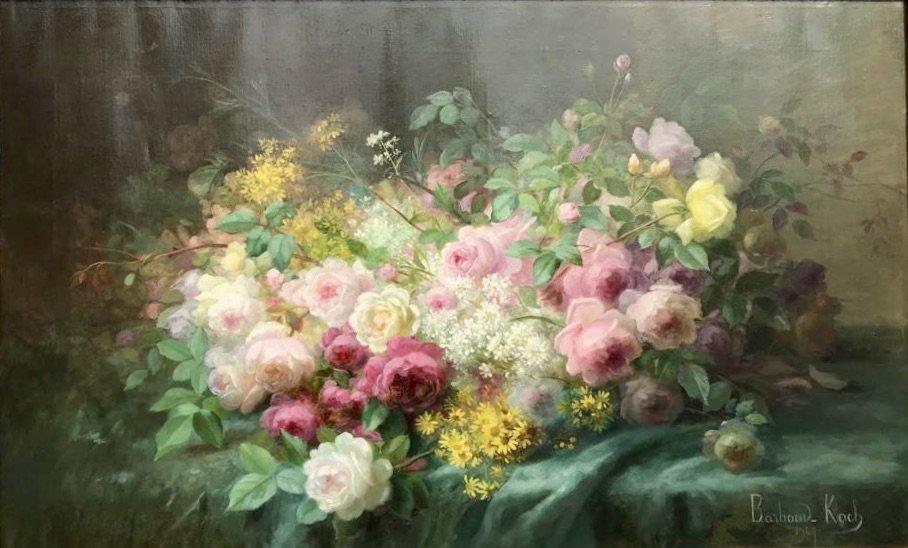 Marthe Élisabeth Barbaud-koch (1862- After 1928) - Flower Throw, Dated 1907
