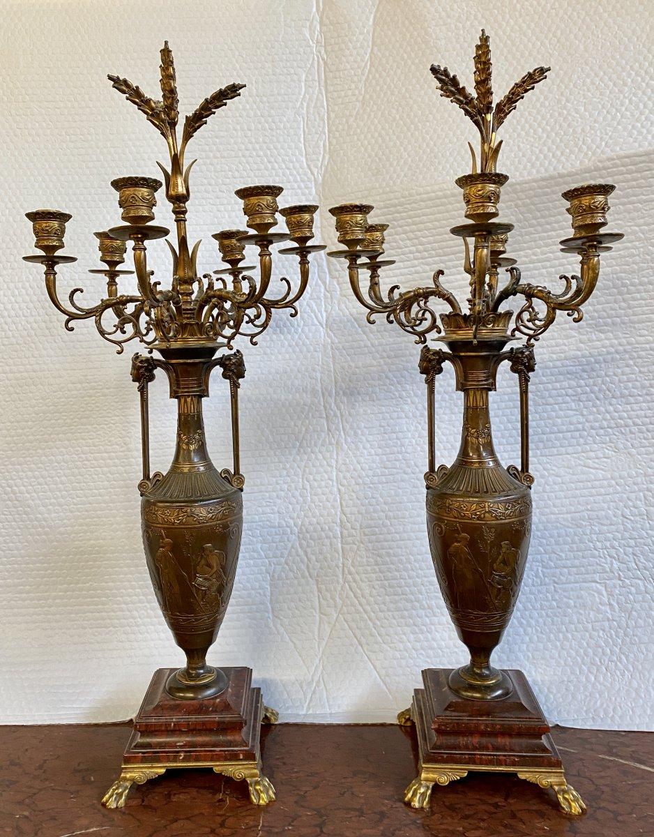 F. Barbedienne & H. Cahieux - Paire De Candélabres
