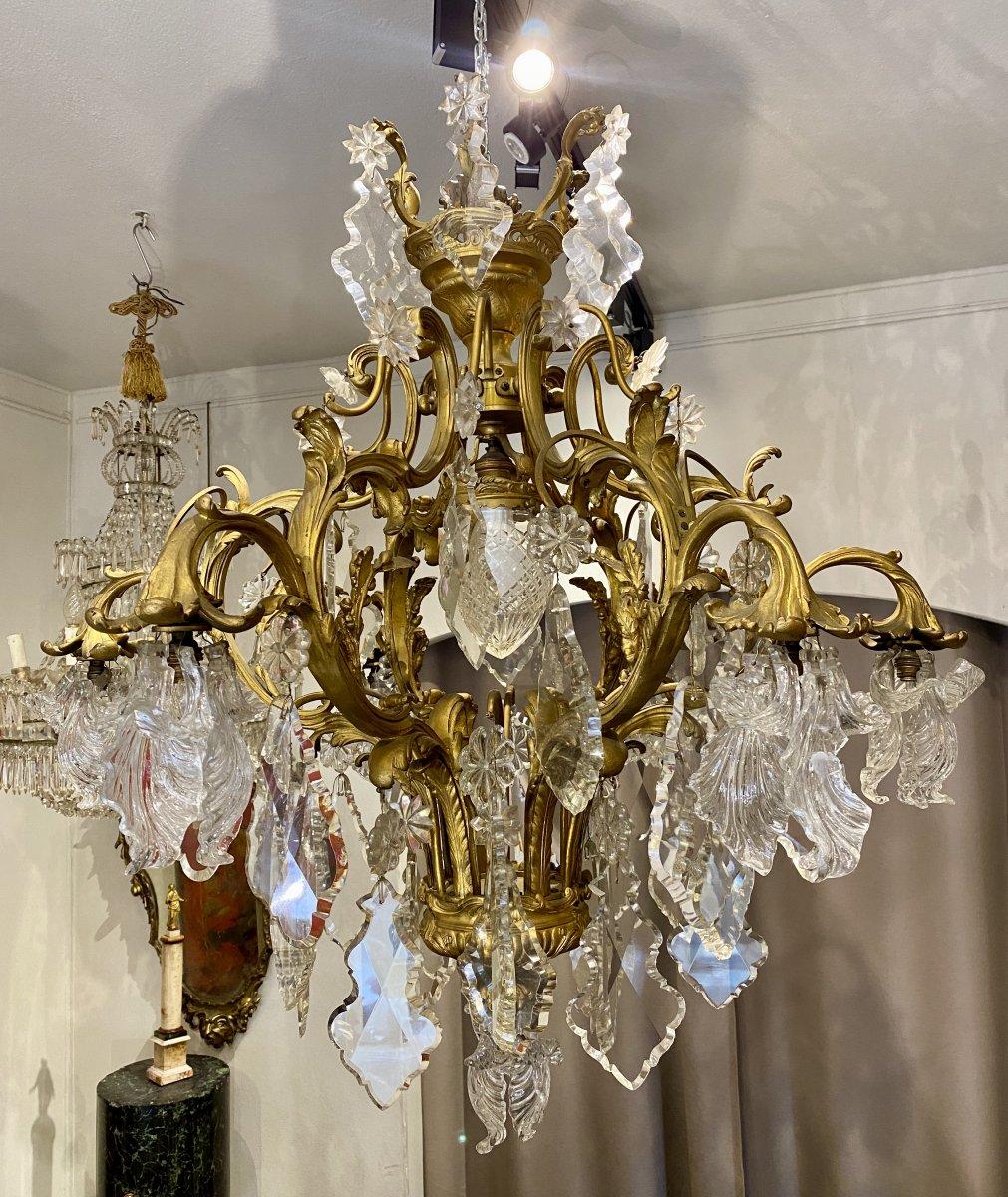 Lustre à 8 lumières en bronze doré et cristal taillé, Napoléon III