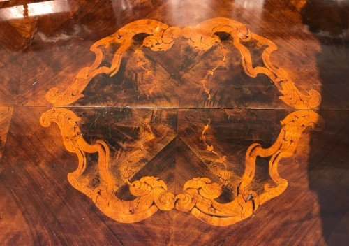 Large Middle Marquetry Desk, Italy Nineteenth Century-photo-5
