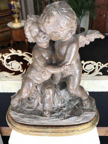 Sculpture En Terre Cuite Représentant Psyché Et Cupidon, d'Après A. Cayot XIXe