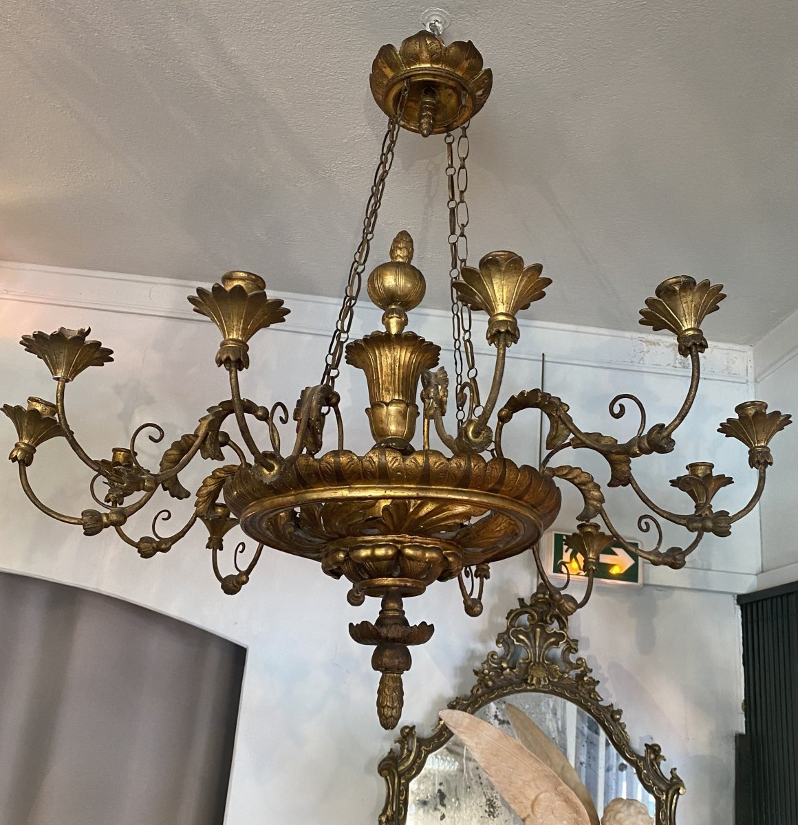 Chandelier With 12 Arms Of Lights In Golden Wood, Italy, XIXth Century