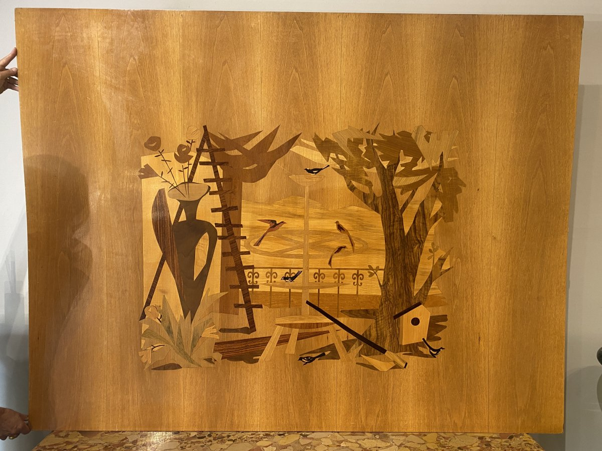 Suite Of 4 Large Inlaid Panels