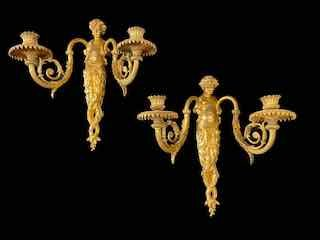 Pair Of Sconces With Two Lights In Gilt Bronze XIXth Century