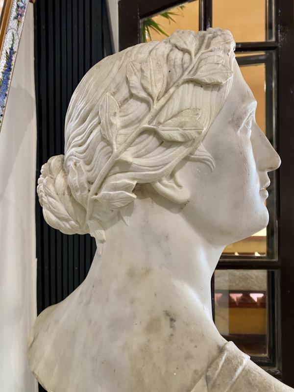 Buste Néoclassique en marbre blanc, fin du XVIII°-photo-3