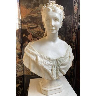 Marble Bust Of Adele d'Affry, Duchess Of Castiglione Colonna Dite Marcello