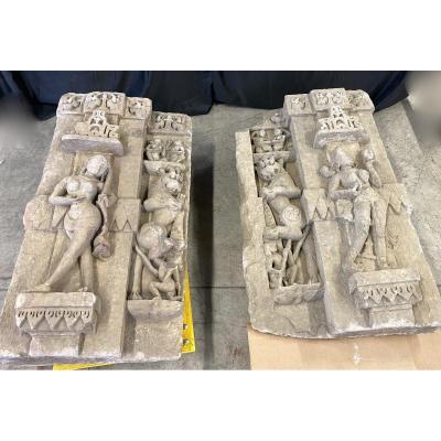 Deux Bas Reliefs En Pierre, Inde, XVII° Siècle