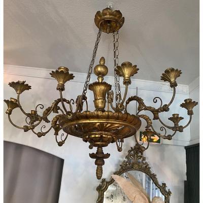 Lustre à 12 Bras De Lumières En Bois Doré, Italie, XIX° Siècle