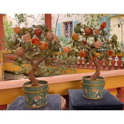 Paire d'Arbres à Fruits En Pierres Dures, Chine, XX° Siècle