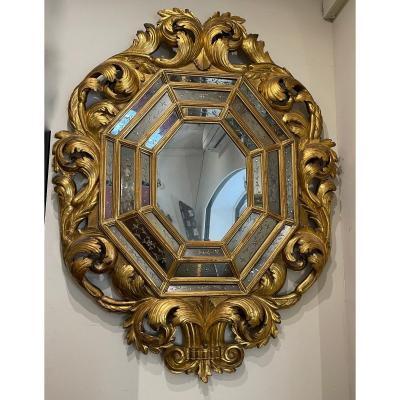 Grand Miroir Octogonal En Bois Sculpté et Doré, époque Napoléon III
