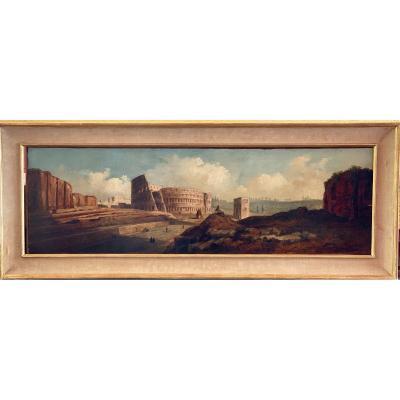 "Oil On Panel ""view Of Rome"" XIXth Century"