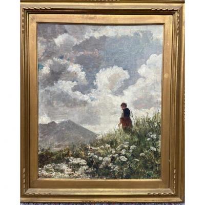 """Scorzelli Eugenio - Oil On Cardboard """"campo Fiorito"""" XIX ° Century"""