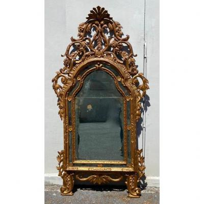 Large Mirror With Pareclose In Carved And Gilded Wood, Louis XVI Period