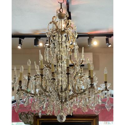 Large 16-light Crystal Chandelier, Late Nineteenth Century
