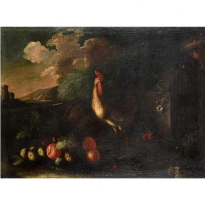 18th Century Italian School, Rooster And Hen Near A Basket Of Spilled Fruits