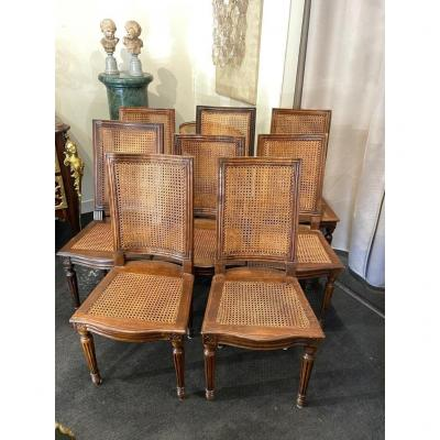 Set Of 8 Louis XVI Period Chairs In Walnut, Italy, End Of The 18th Century