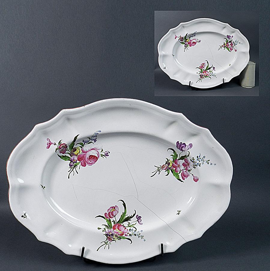 Niderviller Grand Plat Ovale Faïence 18ème Bouquets Qualité Fine
