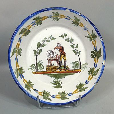 Old Earthenware Bowl Plate Early 19th Le Remouleur