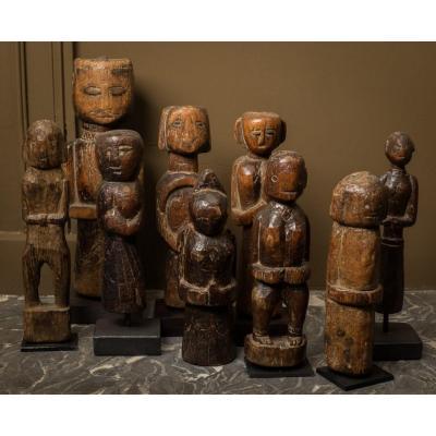 ensemble de 9 figures Gujarat - Inde .. 19e .. art populaire .