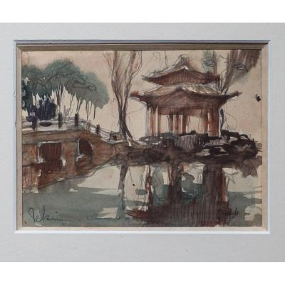 Louis Rollet . Beijing 1933 .. Beijing . Pair Of Watercolors .. Signed