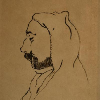 paire de portraits orientalistes . encre sur papier . carnet de voyage  ..