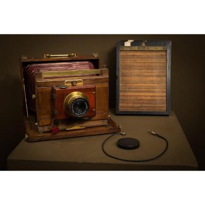 chambre photographique de voyage - APOQUARTZ Optique Française Ligny f7.5 207mm - rare -