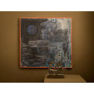 Yvonne Kracht . Abstract Expressionist Painting . Around 1960  ..