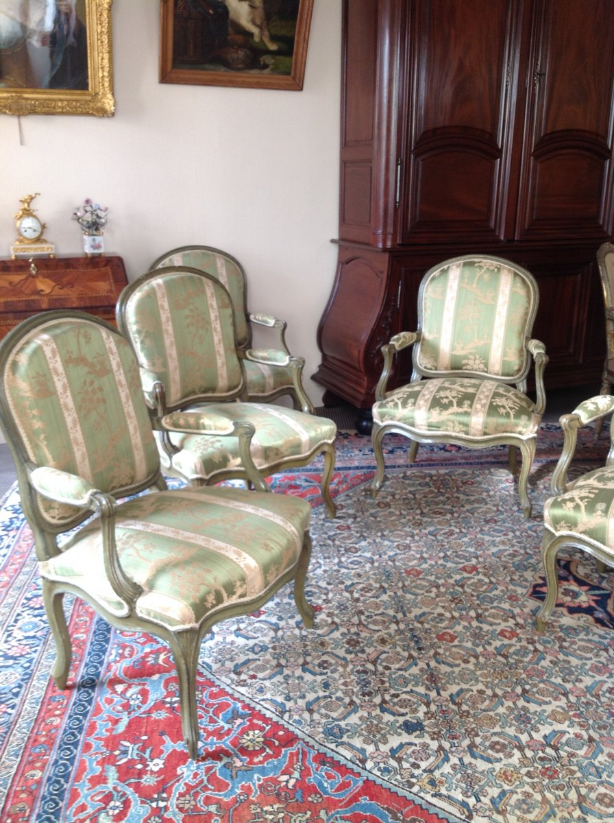 Salon D Louis XV Of 6 Armchairs Signed Delaporte