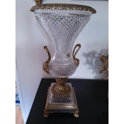 Important Crystal And Bronze Vase Early XX