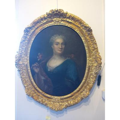 Portrait Of Woman From The XVIIIth S In Its Original Frame