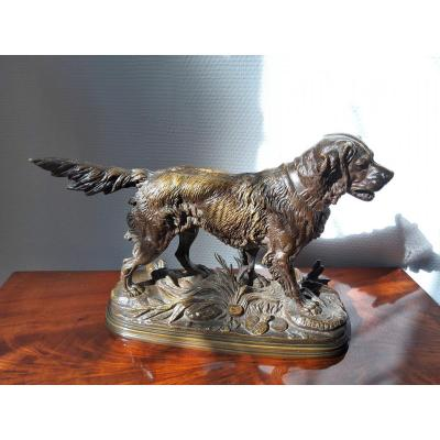 Bronze Hunting Dog Signed E Delabrierre