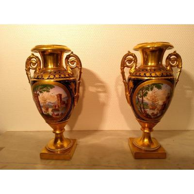 Pair Of Porcelain Vases D Restoration Period