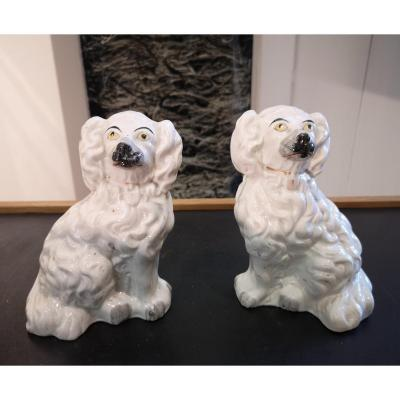 Pair Of Dogs In Faience