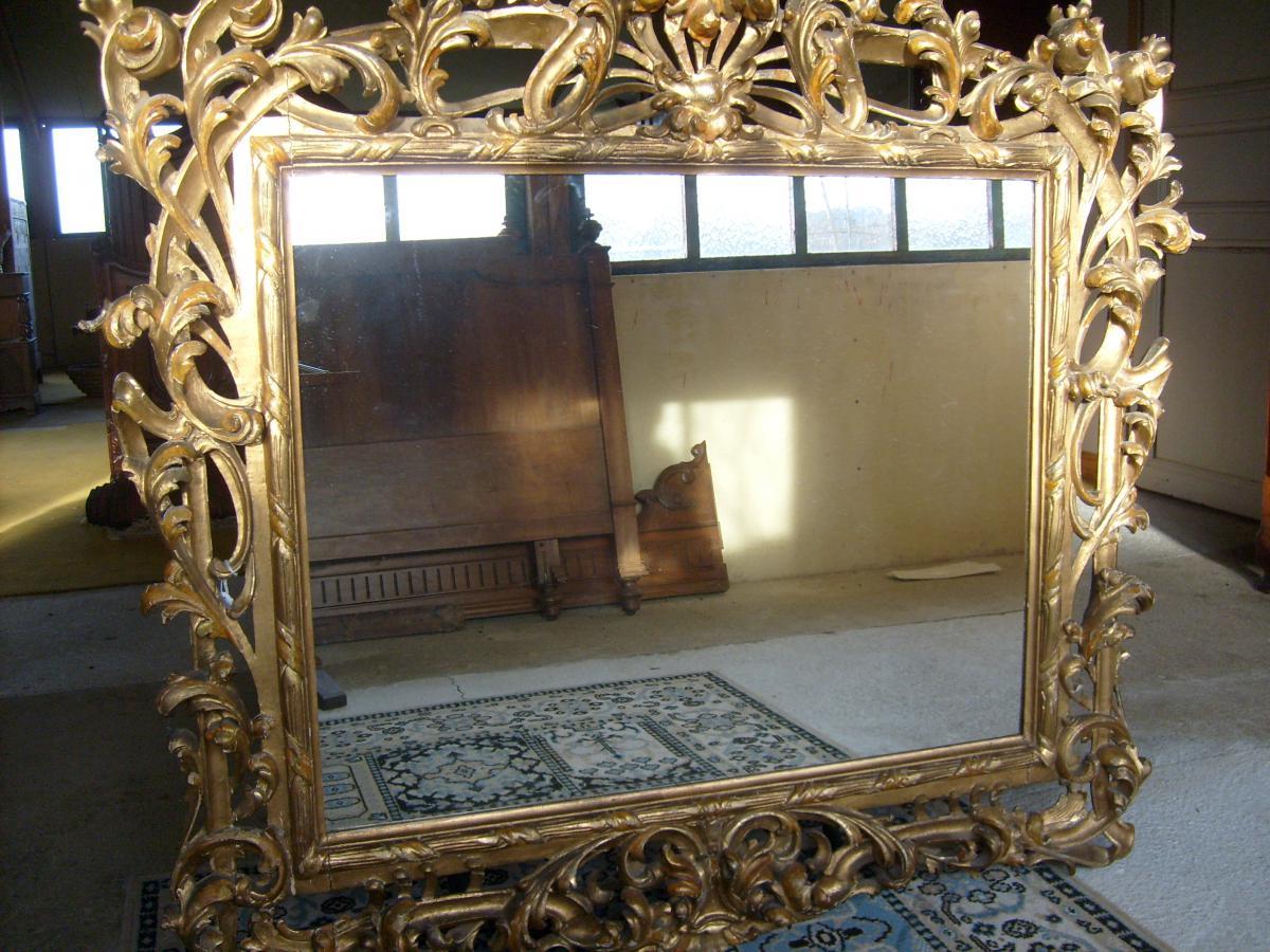 Miroir sculpt et d coup en bois dor xixe si cle miroirs for Miroir xix siecle