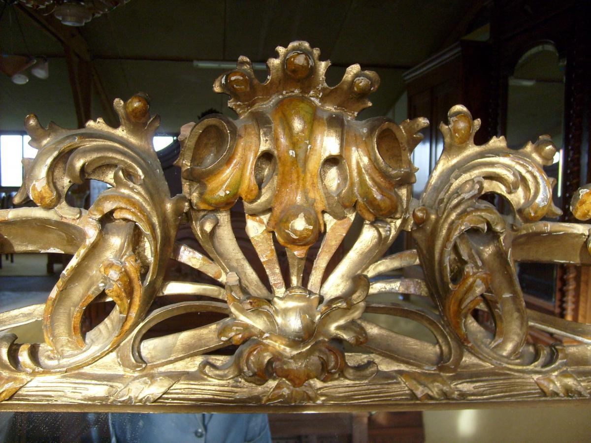 Miroir sculpt et d coup en bois dor xixe si cle miroirs - Miroir a la decoupe ...