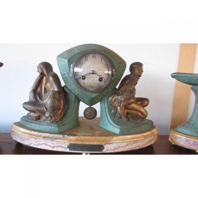 Pendule Art-déco zodiaque