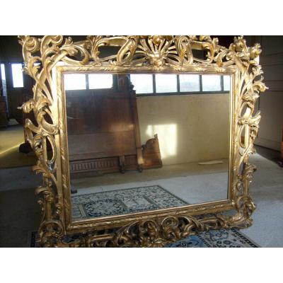 Miroir Sculpté Et Découpé En Bois Doré XIXe Siècle