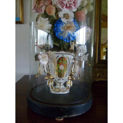 """Paire De Vases """" Vieux Paris """" Sous Globes"""