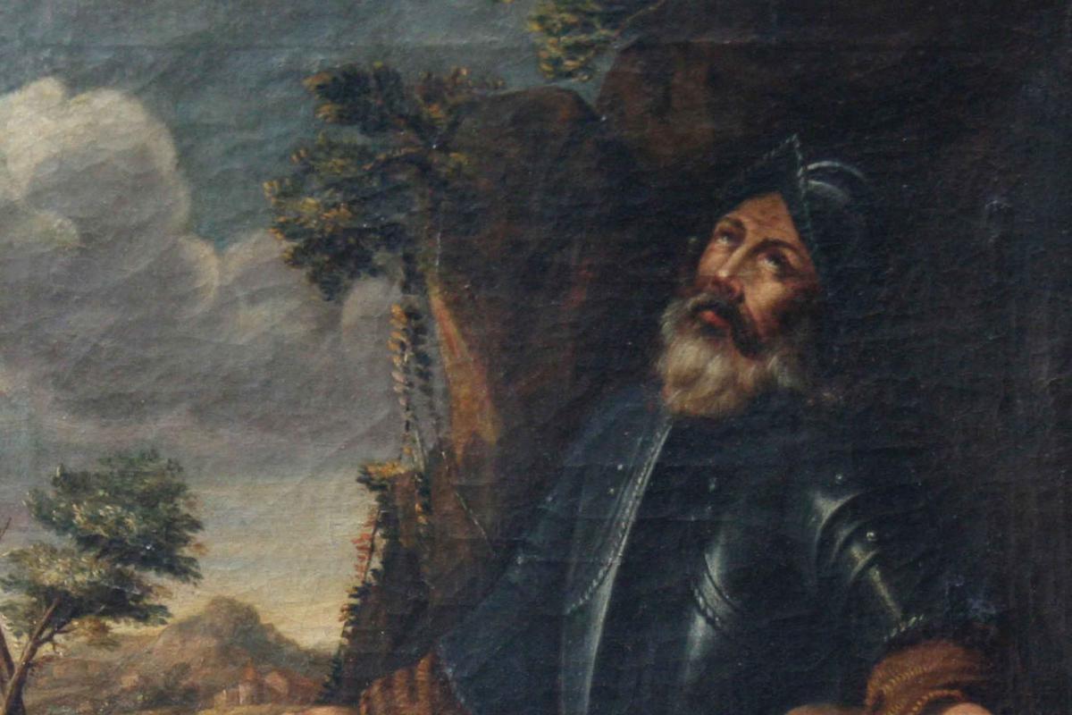 In Saint Prayer,17th Century, Oil On Canvas-photo-2