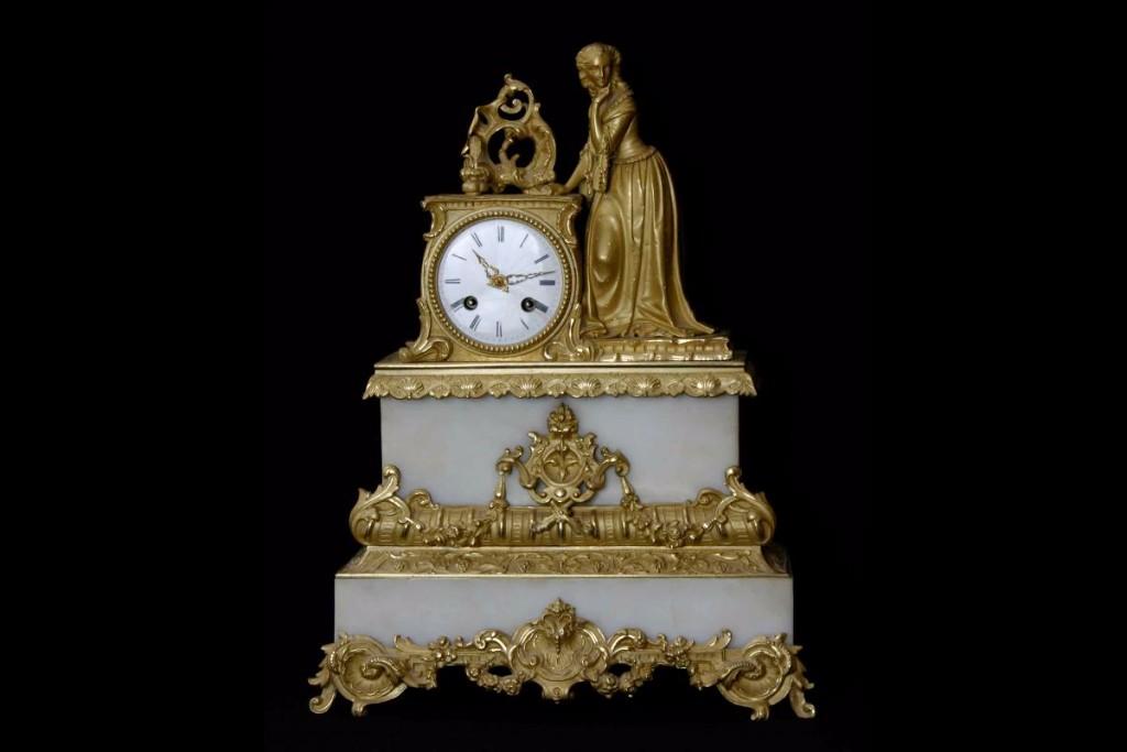 Horloge Bronze Doré Et Marbre