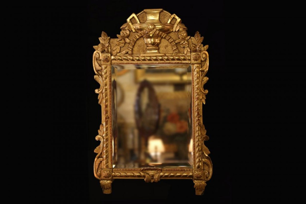 Miroir En Bois Doré à La Feuille, XIXème