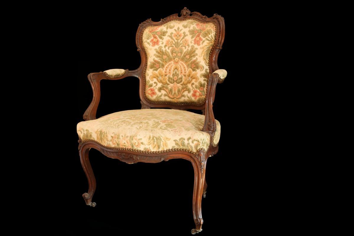 Fauteuil En Noyer Style Louis XV, XIXème Siècle