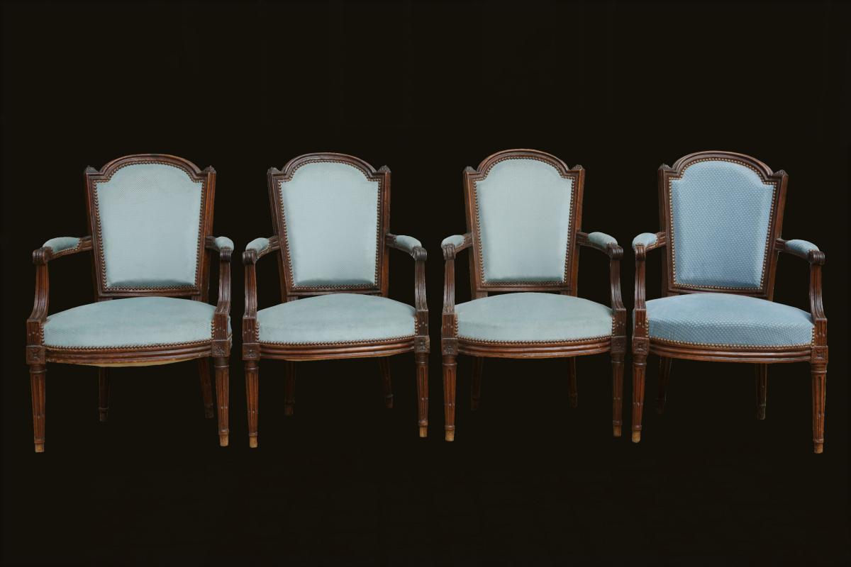 Set Of 4 Chairs Louis XVI Cabriolet Vintage