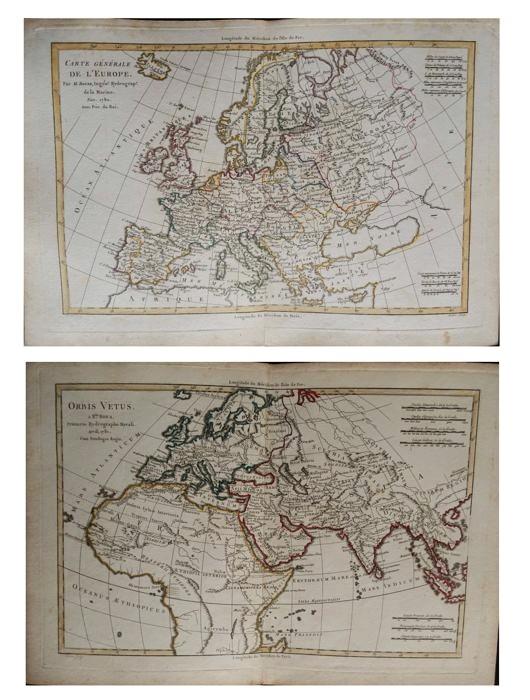 Paire De Cartes De l'Europe Du XVIIIème Siècle Cartographe R. Bonne