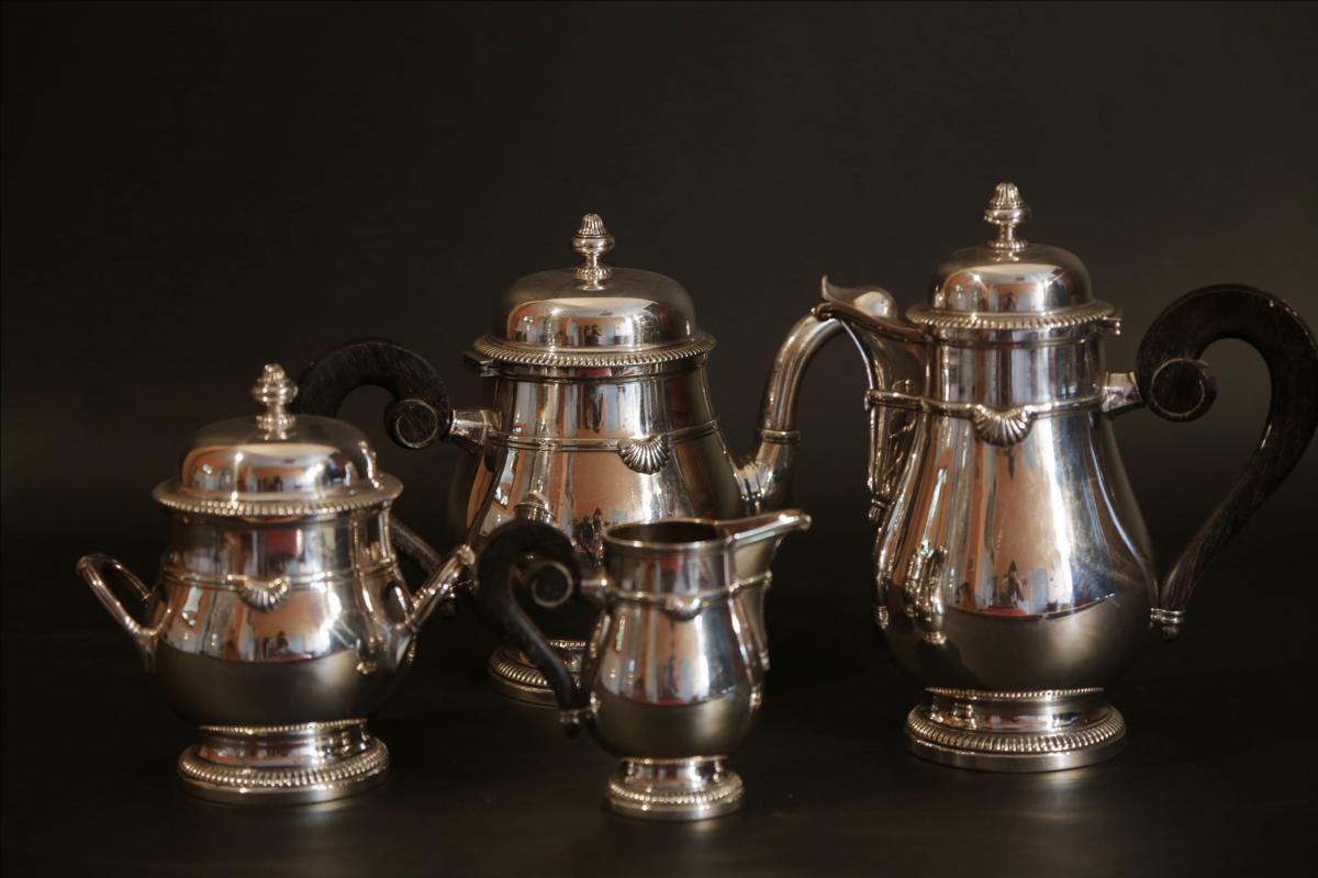 Service à Café, à Thé, Métal Argenté, XIXème