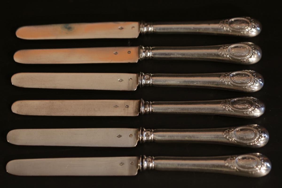 6 Couteaux à Dessert En Argent Massif Fourrés
