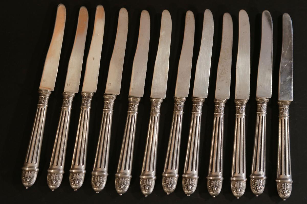 12 Couteaux à Dessert En Argent Massif Et Argent Fourré