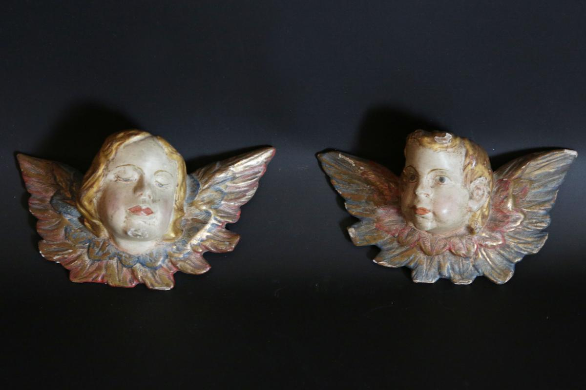 Paire d'Anges d'Applique, XVIIIème Siècle, Bois Peint