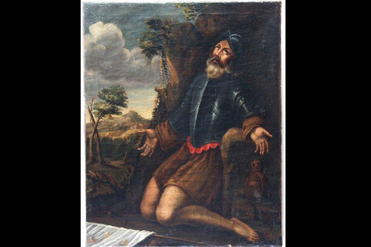 Huile Sur Toile, Saint Personnage En Oraison, XVIIème Siècle